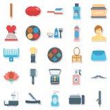Uso de los iconos de la belleza y del vector del balneario para los proyectos del salón y del balneario de belleza ilustración del vector