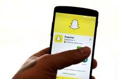 Uso de Snapchat Foto de archivo