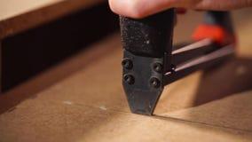 Uso del arma de la grapa en el taller de la carpintería almacen de video