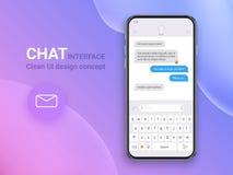 Uso del interfaz de la charla con la ventana del diálogo Limpie el concepto de diseño móvil de UI Mensajero del SMS Iconos planos ilustración del vector