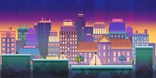 Uso del juego del fondo del juego de la ciudad 2.o Diseño del vector Tileable horizontalmente stock de ilustración