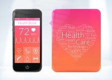 Uso del libro de la salud para el smartphone con la etiqueta engomada de la nube de la palabra Imagenes de archivo