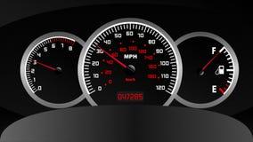 Uso del ordenador, del velocímetro, del tacómetro y del combustible del tablero de instrumentos del coche ilustración del vector