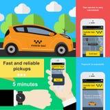Uso del teléfono móvil para reservar servicio del taxi Imagen de archivo libre de regalías
