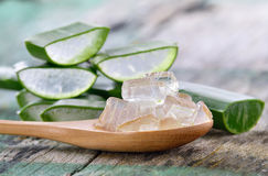 Uso di Vera dell'aloe in stazione termale per cura di pelle Immagini Stock