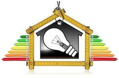 Uso eficaz da energia - House modelo e ampola Imagem de Stock Royalty Free