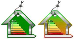 Uso eficaz da energia - símbolos na forma da casa Fotos de Stock Royalty Free