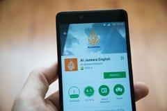Uso inglés de Al Jazeera en tienda del juego de Google imágenes de archivo libres de regalías