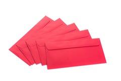 Uso rojo del sobre en festival chino del Año Nuevo en blanco Fotos de archivo