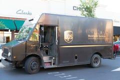 Usp es un camión de la compañía de transporte americana famosa imagen de archivo libre de regalías