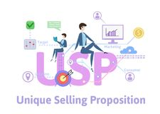 USP, unique selling proposition. Concept table with keywords, letters and icons. Colored flat vector illustration on. USP, unique selling proposition. Concept vector illustration