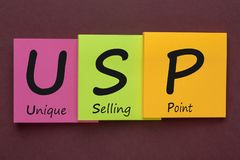 USP Unique Selling Proposition. USP Unique Selling Point written on color notes. Acronym business concept stock photography