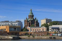 Uspenski大教堂在夏天晚上沐浴在阳光下  库存图片