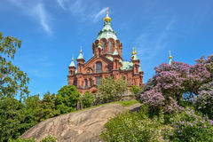 Uspenski大教堂在赫尔辛基,芬兰 库存照片