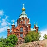 Uspenski大教堂在赫尔辛基,芬兰 库存图片