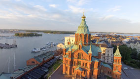 Uspenski Cathedral in Helsinki, aerial view.  stock photography