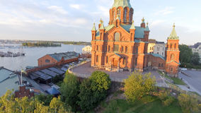 Uspenski Cathedral in Helsinki, aerial view.  royalty free stock image
