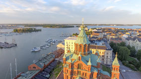 Uspenski Cathedral in Helsinki, aerial view.  royalty free stock photo