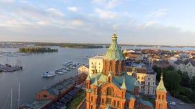Uspenski Cathedral in Helsinki, aerial view.  stock photo