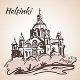 Uspenski Cathedral in Helsinki - Finland. Sketch, Isolated on wh Stock Image