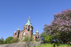Uspenski cathedral in helsinki in spring Royalty Free Stock Photo