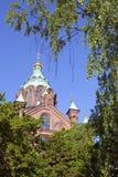 Uspenski cathedral seen through green foliage Royalty Free Stock Photo