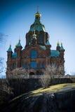 Uspenski domkyrka i den finlandssvenska huvudstaden Helsingfors Arkivbilder