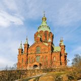 Uspenski Eastern Orthodox Cathedral in Helsinki.Finland. Uspenski Eastern Orthodox Cathedral on a sunny winter day. Helsinki. Finland stock photo