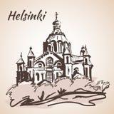 Uspenski katedra w Helsinki, Finlandia - Nakreślenie, Odosobniony na wh ilustracja wektor