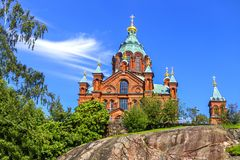 Uspenski Orthodox Cathedral. Hilsinki. Finland. stock photography