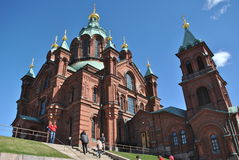 Uspenski Orthodox Church, Helsinki. Uspenski Cathedral (original: Uspenskin katedraali) is an Eastern Orthodoxcathedral, one of most popular by tourist and royalty free stock image