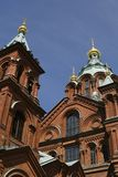 Uspenski Russian Orthodox cathedral in Helsinki. The Uspenski Russian Orthodox cathedral in Helsinki, Finland (upward angle Royalty Free Stock Photography