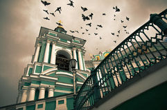 Uspenskij Cathedral in Smolensk, Russia. The birds in the sky of the Uspenskij Cathedral in Smolensk, Russia stock photos