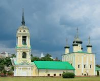 Uspenskiy Cathedral in city landscape of Voronezh royalty free stock photography