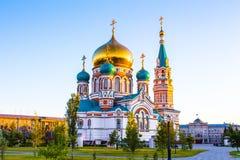 Uspenskiy Sobor en la ciudad Omsk Imagen de archivo libre de regalías