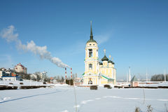 Uspensky Admiralty temple. Uspenija Presvjatoj Bogoroditsy and Prisnodevy Maria's church royalty free stock photos