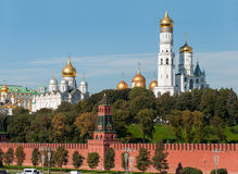 Uspensky and Blagoveschensky cathedrals and Ivan  Great Bell of  Moscow Kremlin. Russia Stock Image