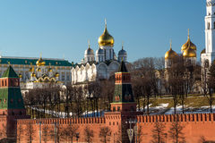 Uspensky and Blagoveschensky cathedrals of  Moscow Kremlin. Russia Royalty Free Stock Photos