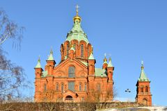 Uspensky Cathedral in Helsinki. Built 1868, it is largest Orthodox Cathedral in Western Europe. Spring royalty free stock photo