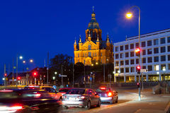 Uspensky cathedral in Helsinki, Finland. Scenic evening view of Uspensky orthodox cathedral church in Helsinki, Finland Stock Photography