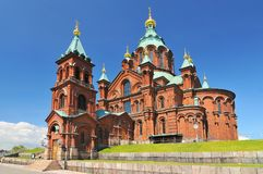 Uspensky Cathedral in Helsinki. Finland. Uspenski Cathedral is an Eastern Orthodox cathedral in Helsinki, Finland, and main cathedral of the Orthodox Church of stock photography