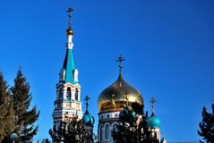 Uspensky Cathedral. Omsk. Stock Photos