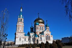 Uspensky Cathedral. Omsk. Stock Images