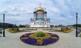 Uspensky Cathedral in Omsk, Russia. Uspensky (Assumption) Cathedral on the Cathedral Square in Omsk, Russia Stock Photo