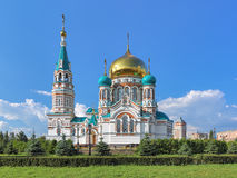 Uspensky Cathedral in Omsk, Russia Stock Images