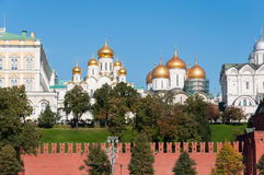 Uspensky i Blagoveschensky katedry Moskwa Kremlin Rosja Zdjęcia Royalty Free