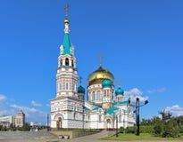 Uspensky-Kathedrale in Omsk, Russland Lizenzfreie Stockfotos