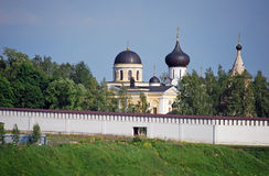 The Uspensky monastery and Trinity Church on the bank of the river of Volga in the city of Staritsa. Tver region. Russia. The Uspensky monastery and Trinity Stock Images
