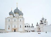Uspensky and Voskresensky Cathedrals in Rostov Kremlin. Russia. Royalty Free Stock Photos