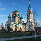 Uspenskykathedraal (de historische bouw), Omsk, Rusland Stock Afbeeldingen